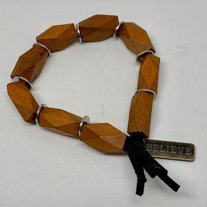 katdjewelry Jewelry - NWT • Believe wooden stretch bracelet